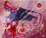 blue_hair hat moon red_eyes red_moon remilia_scarlet shiroaisa touhou traditional_media watercolor watercolor_(medium) wings