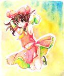 brown_hair detached_sleeves hakurei_reimu jumping midriff navel shiroaisa touhou traditional_media watercolor watercolor_(medium)