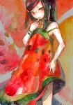 child dress food food_themed_clothes fruit nayuko original traditional_media watermelon