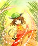 bamboo bamboo_forest blonde_hair cat_ears cat_tail chen danmaku earrings forest hat jewelry multiple_tails nature shiroaisa tail touhou traditional_media watercolor watercolor_(medium)