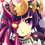 >:o 1girl :o bangs blunt_bangs blush_stickers breastplate claws crack flower headpiece heterochromia horns long_hair open_mouth pikomarie pointy_ears purple_hair puzzle_&_dragons solo violet_eyes yomi_(p&d)