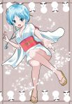 1girl azumawari_(azumofu) bare_legs blue_eyes blue_hair blush feet japanese_clothes jigoku_sensei_nube kimono no_socks obi sandals sash short_kimono snow snowman tied_hair waraji yukime_(jigoku_sensei_nube)