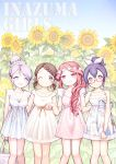 4girls brown_hair collarbone dress flower glasses gz_(gzxd) inazuma_eleven inazuma_eleven_(series) kino_aki kudou_fuyuka long_hair looking_at_viewer multiple_girls one_eye_closed open_mouth otonashi_haruna outdoors purple_hair raimon_natsumi red-framed_glasses redhead smile sunflower