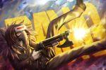 bobomaster brown_hair gun mask pixiv_fantasia pixiv_fantasia_t red_eyes solo weapon