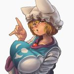 1girl blonde_hair blush breast_rest breasts chanta_(ayatakaoisii) dress fingernails from_side hand_gesture hat holding_up_breast huge_breasts looking_at_viewer looking_to_the_side nose open_mouth outline short_hair simple_background solo tabard touhou upper_body white_background white_dress wide_sleeves yakumo_ran yellow_eyes