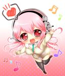 1girl blush breasts chibi headphones ibuki_haruhi large_breasts long_hair looking_at_viewer necktie nitroplus no_pants open_mouth pink_hair red_eyes smile solo super_sonico thigh-highs