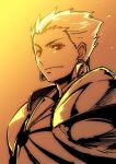 1boy armor blonde_hair earrings fate/grand_order fate/stay_night fate_(series) gilgamesh ishida_akira jewelry male_focus nose portrait red_eyes short_hair solo spot_color