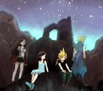 2boys 2girls age_comparison blonde_hair blush brown_eyes brown_hair cloud_strife colored_pencil_(medium) commentary crop_top dress dual_persona earrings final_fantasy final_fantasy_vii fingerless_gloves gloves green_eyes jewelry long_hair looking_at_another looking_away mare_(pixiv) midriff miniskirt mixed_media multiple_boys multiple_girls navel open_mouth short_hair skirt sky sleeveless sleeveless_dress spiky_hair star_(sky) suspenders tank_top tifa_lockhart traditional_media younger