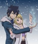 1boy 1girl black_hair blonde_hair breasts brown_eyes cleavage fairy_tail gray_fullbuster heart lucy_heartfilia open_mouth smile snow tattoo