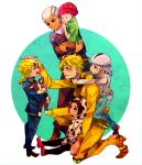 beanie black_eyes black_hair blonde_hair blue_eyes carrying child cow_print crying dio_brando donatello_versace earrings enrico_pucci family giorno_giovanna hat headband hoodie iggy_(jojo) jewelry jojo_no_kimyou_na_bouken knee_pads kneeling multicolored_hair objectification patting_head pointy_shoes rykiel shoes sitting streaming_tears stuffed_toy tears turtleneck two-tone_hair ungaro white_hair younger yyy246