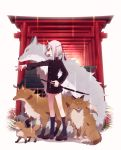 1girl fox fox_mask grey_hair highres mask musco original sword torii weapon