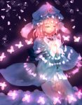 1girl butterfly closed_eyes danmaku energy frilled_kimono frills glowing glowing_butterfly hands_together hat japanese_clothes kimono light long_sleeves mob_cap nagare obi open_mouth pink_hair purple_background saigyouji_yuyuko sash shiny shiny_hair short_hair solo touhou triangular_headpiece veil wide_sleeves
