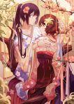 2girls bracelet brown_eyes cherry_blossoms flower hair_flower hair_ornament hibike!_euphonium highres in_tree japanese_clothes jewelry kimono kousaka_reina lily_(flower) long_hair long_sleeves multiple_girls oumae_kumiko ponytail purple_hair revision sitting sitting_in_tree tree very_long_hair violet_eyes wide_sleeves yuri zicai_tang