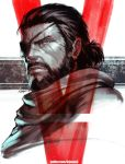 1boy 5 big_boss close-up closed_mouth eyepatch face facial_hair facial_scar male_focus metal_gear_(series) metal_gear_solid metal_gear_solid_v number rejean_dubois roman_numerals scar scarf signature twitter_username