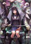1girl black_hair blazer book katana kawahara_ryuuta long_hair school_uniform solo sword throne veil weapon
