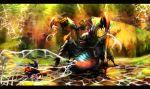 armor battle full_armor gun insect lance letterboxed masayoshi monster monster_hunter monster_hunter_4 nerscylla polearm silk spider_web sword tagme weapon