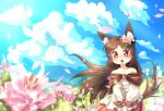 1girl animal_ears bare_shoulders blue_sky blush brooch brown_eyes brown_hair clouds field flower flower_field hair_flower hair_ornament imaizumi_kagerou jewelry long_hair long_sleeves open_mouth petals shirt skirt sky solo tail touhou very_long_hair volcano_(liao) werewolf wind wolf_ears wolf_tail younger