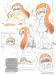 >_< 1girl apron bike_shorts blush closed_eyes dated dishwashing_soap domino_mask fangs hair_ornament hairclip inkling kanya_pyi ladle lying mask musical_note on_side orange_eyes orange_hair partially_colored pointy_ears sidelocks simple_background slippers smile splatoon television tentacle_hair vacuum_cleaner white_background window yes-no_pillow