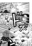 backpack bag black_clothes dual_wielding grin gun itano_circus kantai_collection midair re-class_battleship satsuki_(kantai_collection) scarf shinkaisei-kan short_hair smile smoke_trail torpedo twintails upside-down weapon zepher_(makegumi_club)