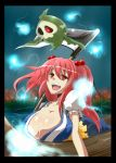 1girl :d boat breasts cleavage collarbone crossover duskull flower ghost hair_bobbles hair_ornament haji_(hajiko) large_breasts letterboxed onozuka_komachi open_mouth pokemon pokemon_(creature) red_eyes redhead river scythe short_hair short_sleeves smile spider_lily spirit touhou twintails