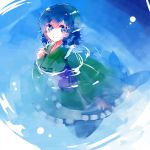 1girl blue_eyes blue_hair drill_hair head_fins japanese_clothes kimono long_sleeves looking_at_viewer mermaid monster_girl nr_(cmnrr) obi sash short_hair smile solo submerged touhou wakasagihime water wide_sleeves