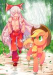 1girl applejack bangs blonde_hair blush bow collared_shirt cowboy_hat crossover forest freckles fujiwara_no_mokou green_eyes hair_bow hands_in_pockets hat highres large_bow long_hair my_little_pony my_little_pony_friendship_is_magic nature pants red_eyes shirt sidelocks silver_hair smile sunlight touhou very_long_hair xin_yu_hua_yin