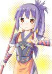 1girl blue_hair blush fire_emblem fire_emblem_if long_hair naginata oboro_(fire_emblem_if) orange_eyes polearm ponytail solo weapon