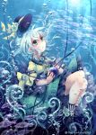 1girl aqua_eyes bow bubble fish floral_print flower hat hat_bow hat_flower komeiji_koishi open_mouth shirt silver_hair skirt solo third_eye touhou toutenkou underwater