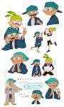 2boys ^_^ angry backwards_hat baseball_cap bike_shorts black_shorts blue_eyes blue_hair blush_stickers brown_eyes character_name character_sheet chin_rest closed_eyes clothes_writing crocs domino_mask energy_sword expressions fang fangs finger_gun glasses glasses_removed green_hair hands_on_another's_shoulders hanten_(clothes) hat hat_removed headwear_removed highres inkling katou_(osoraku) kobushime_(sorobochi) long_sleeves male_focus mask monjiro_(sorobochi) multiple_boys pointy_ears raglan_sleeves robe seiza shirt short_hair shorts simple_background sitting smile splatoon star_wars sword t-shirt tan tentacle_hair topknot v vans weapon white_background white_shirt