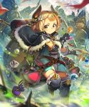 1girl armor backpack bag belt black_gloves blonde_hair blush boots cloak fingerless_gloves flask fur_trim gloves hair_ornament horns looking_at_viewer original plant potted_plant pouch satchel shingeki_no_bahamut short_eyebrows short_hair short_twintails solo_focus staff test_tube thigh-highs thigh_boots twintails yellow_eyes yui_(niikyouzou)