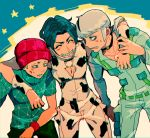 3boys beanie black_hair brothers donatello_versace hat jojo_no_kimyou_na_bouken multiple_boys rykiel siblings ungaro white_hair yyy246