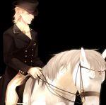 1boy blonde_hair dio_brando hat hertz_(tsuquart) horse jojo_no_kimyou_na_bouken solo top_hat