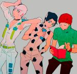 3boys beanie black_hair book brothers donatello_versace hat jojo_no_kimyou_na_bouken multiple_boys rykiel siblings ungaro white_hair yyy246