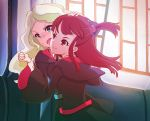 2girls akko_kagari blonde_hair blue_eyes brown_hair diana_cavendish fang indoors little_witch_academia long_hair looking_at_another multiple_girls open_mouth ponytail pushing_away red_eyes smile tacta witch wrist_grab yuri