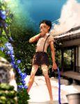 1boy black_hair child flower hertz_(tsuquart) jojo_no_kimyou_na_bouken kuujou_joutarou shorts solo suspenders younger