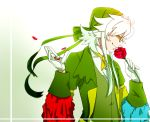 1boy bandana flower formal glasses gloves green_clothes mugen_infinite personification petals pokemon profile rose roserade smelling solo suit white_gloves white_hair