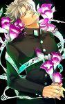 1boy flower gakuran grey_hair hertz_(tsuquart) hierophant_green jojo_no_kimyou_na_bouken kakyouin_noriaki school_uniform solo stand_(jojo) tentacles
