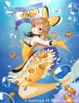 1girl :o armpits bangs brown_eyes brown_hair bubble cardfight!!_vanguard clownfish commentary_request copyright dress eyebrows_visible_through_hair flag frilled_dress frills full_body gloves hairband holding holding_flag long_hair looking_at_viewer mermaid miyoshino monster_girl neck_ribbon official_art outstretched_arm ribbon sleeveless sleeveless_dress solo sunlight underwater yellow_dress yellow_gloves