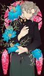 1boy flower gakuran hertz_(tsuquart) jojo_no_kimyou_na_bouken kakyouin_noriaki school_uniform solo