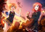2girls :d argyle_sweater_vest black_sweater blush book boots bow bowtie camera green_eyes hair_between_eyes hair_ornament hairclip hairpin highres holding holding_book holding_camera hoshizora_rin index_finger_raised lamppost long_sleeves looking_at_viewer love_live! love_live!_school_idol_festival love_live!_school_idol_project miniskirt multiple_girls neck_ribbon necktie nishikino_maki non-web_source official_art open_book open_mouth orange_hair outdoors pantyhose plaid plaid_skirt pleated_skirt red_neckwear redhead ribbon school_uniform shooting_star short_hair skirt sleeves_rolled_up smile sunset sweater sweater_vest vest violet_eyes yellow_ribbon