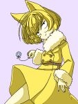 1girl animal_ears belt black_eyes blonde_hair bob_cut buttons closed_mouth coat colored_skin commentary_request fur-trimmed_coat fur-trimmed_sleeves fur_collar fur_trim gen_1_pokemon half-closed_eyes hand_up happy head_tilt holding hypno jewelry long_sleeves muguet pendulum personification pokemon pokemon_(creature) purple_background ring short_hair simple_background smile solo string yellow_coat yellow_skin
