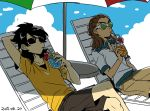 2boys beach_umbrella black_hair blue_sky brown_hair clouds dated drinking drinking_glass drinking_straw flat_color fudou_akio goggles hairlocs inazuma_eleven_(series) inazuma_eleven_go kidou_yuuto long_hair male_focus multiple_boys older outdoors saku_anna sky sunglasses