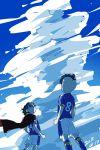 2boys blue_sky brown_hair clouds dated from_behind fudou_akio goggles hairlocs inazuma_eleven inazuma_eleven_(series) inazuma_japan kidou_yuuto male_focus multiple_boys outdoors red_cape saku_anna short_hair sky soccer_uniform sportswear