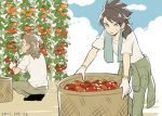 2boys basket blue_sky brown_hair clouds dated fudou_akio gloves goggles hairlocs inazuma_eleven_(series) inazuma_eleven_go kidou_yuuto long_hair male_focus multiple_boys older outdoors overexposure saku_anna sky squatting sweat tomato