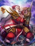 1boy armor beard chain copyright_request eyepatch facial_hair fantasy gauntlets gloves gold_bar hat highres leg_armor mikeyama_mike muscle official_art old_man one_eye_covered sack santa_claus santa_hat shoulder_armor snow solo spiked_gloves weapon white_hair