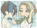 2boys brown_hair closed_eyes dated fudou_akio hairlocs inazuma_eleven inazuma_eleven_(series) kidou_yuuto male_focus multiple_boys open_mouth saku_anna short_hair simple_background sneezing towel upper_body water_drop wet younger