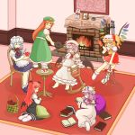 6+girls :< :d ^_^ apple apron ascot barefoot basket bat_wings bean_bag_chair bellows blonde_hair blue_dress book bow braid brooch capelet chair china_dress chinese_clothes closed_eyes commentary_request crescent dress eyebrows fang fire fireplace flandre_scarlet food frame fruit full_body hair_ribbon hand_on_own_stomach happy hat hat_bow head_wings highres holding holding_book hong_meiling izayoi_sakuya jewelry knife knitting knitting_needle koakuma laevatein lavender_hair light_smile long_hair long_sleeves lying maid maid_headdress mob_cap mobile multiple_girls needle on_side open_book open_mouth patchouli_knowledge photo_(object) plate pregnant purple_dress purple_hair rattle reading red_eyes redhead remilia_scarlet ribbon rocking_chair rug scarf shirt short_hair short_sleeves side_ponytail silver_hair sitting skirt skirt_set slippers smile socks standing star table tfv the_embodiment_of_scarlet_devil touhou tress_ribbon twin_braids vest violet_eyes waist_apron white_shirt wide_sleeves wings yarn yarnball
