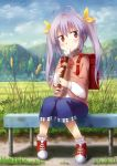 1girl absurdres antenna_hair backpack bag bench blush highres instrument long_hair long_sleeves looking_at_viewer miyauchi_renge mountain non_non_biyori purple_hair randoseru recorder red_eyes shorts sitting solo twintails yinzhai