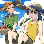2boys arm_support basket blue_sky brown_hair carrying clouds cucumber dated eating fudou_akio hairlocs hat inazuma_eleven inazuma_eleven_(series) kidou_yuuto male_focus multiple_boys open_mouth outdoors saku_anna sitting sky sun_hat tomato