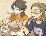 2boys alcohol beer brown_hair chopsticks dated eating food fudou_akio hairlocs inazuma_eleven_(series) inazuma_eleven_go kidou_yuuto long_hair male_focus multiple_boys older open_mouth saku_anna sitting skewer steam